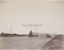Egypte Canal de Suez Histoire Travaux élargissement Vintage Albumine ca 1895