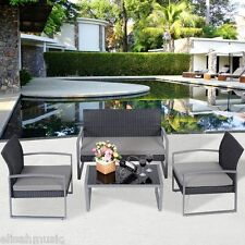 Outdoor Patio Sectional 4 PCS Sofa Set Furniture PE Wicker Rattan Deck Couch BLK