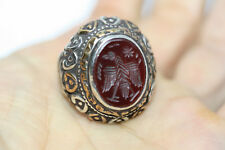 Very Old Antique 14.96 ctw Carnelian Agate Roman Engraved Eagle Ring Band Sz 9.5