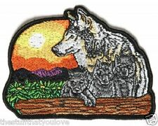 """(L40) Large WOLF AND CUBS 10"""" x 7.5"""" iron on back patch (3967) Biker Vest"""