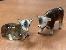 Vintage Bull Cow Calf Salt and Pepper Shaker Victoria Ceramic