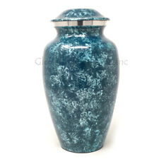 Cremation Urns Large Aluminium Sliver Blue for Ashes