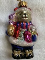 Very Colorful Christmas Bear Glass Ornament! Perfect Condition!