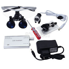 Dental 3.5X Surgical Magnifier Medical Binocular Loupes with LED Light Lamps