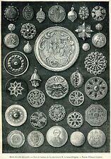 Parigi, Museo Arti Decorative: Bottoni, Collezione Pérignon. Stampa Antica. 1881