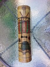 Vtg Bamboo Wood Carved Tube Musical Instrument Butterfly Turtle Design Decor