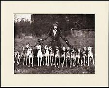 GREYHOUND LADY AND SIXTEEN DOGS LOVELY LITTLE DOG PRINT MOUNTED READY TO FRAME