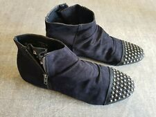 Atmosphere size 7 (41) black faux suede side zip studded Chelsea ankle boots