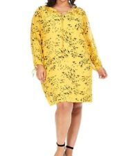 Yumi Yellow Giraffe Print Tunic Chiffon Shift Dress Size 10 (L)