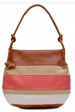 New Radley London Wren Street large Scoop Hobo striped leather suede bag  honey 447c3dc013360