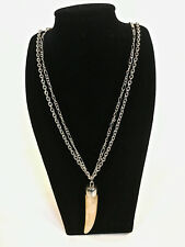 Guess Silvertone Horn Pendant Statement Necklace