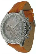 Trias Orologio Cronografo Zirconia lunetta fissa quarzo pelle Uhrband