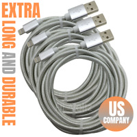 3Pack 10Ft USB Charger Cable Heavy Duty For Apple iPhone iPad Charging Data Cord