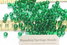 1/0 Seed Beads Glass Trans Christmas Green Crafts Jewelry Making 6 x 5mm /1oz