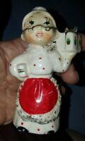 Vintage Porcelain Figurine~ Mrs CLAUS SEEKS SANTA! Candle Holder~Commodore Japan