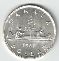 CANADA 1937 VOYAGEUR SILVER DOLLAR KING GEORGE VI CANADIAN SILVER COIN
