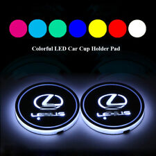 2x Colorful LED Car Cup Holder Pad Mat for LEXUS Auto Interior Atmosphere Lights