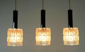 mid century modern 3-light PENDANT LAMP glass and chrome hillebrand