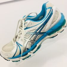 Asics Gel Kayano 18 Womens Shoes White Blue Size 9.5 Running Trainer T250N $160