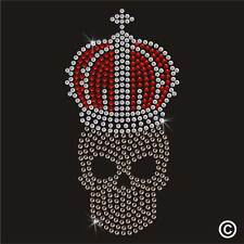 Skull Red Crown Rhinestone Diamante Transfer Iron On Hotfix Crystal Motif