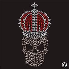 Skull Crown Rhinestone Diamante Transfer Iron On Hotfix Crystal Motif Applique