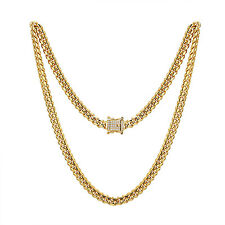 "14k Gold Tone Miami Cuban Link Necklace 24"" Chain Men HipHop 8mm Stainless Steel"