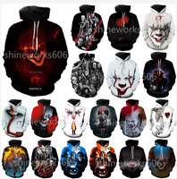 WomenMens 3D Print Horror Movie IT Clown Hoodie Casual Pullover Sweatshirts Tops