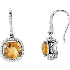 Citrino & 3/4 CTW Orecchini di diamanti in 14k oro bianco