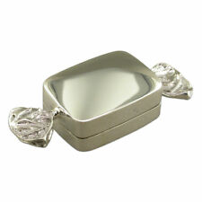 TRINKET PILL BOX SOLID WHITE METAL SWEET BONBON GIFT NEW WITH 925 STAMP