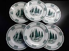 Superbe lot de 6 assiettes en faïence décor marin Bateau PARFAIT ETAT
