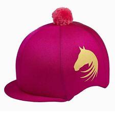 Lycra Riding Skull Cap Covers  XC Hat Silk Ass Colours Gold Horse Motif & Pompom