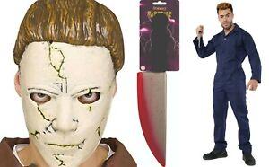 Mens Halloween Overalls Boiler Michael Myers Costume Mask Jumpsuit Fancy Dress