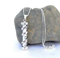 Sterling Silver 925 Mezuzah Pendant&necklace.W-Shema Israel Sh'ma Yisrael Jewish