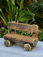 Miniature Dollhouse FAIRY GARDEN Furniture ~ Mini Log Look Resin Bench ~ NEW