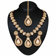 Indian Bollywood Gold White Polki Jewellery set Necklace Earring Tikka