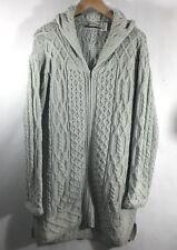 aran crafts sweater Medium Cardigan Coat Hooded Cableknit Green Chunky Ireland