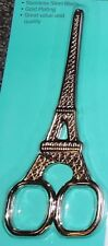 Chic Eiffel Tower Gold Plated Embroidery Scissors 14cms Stainless Steel Quilting