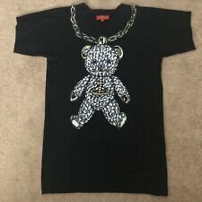 100% Auth Vivienne Westwood Red Label Teddy Bear Necklace Black T-shirt Size M