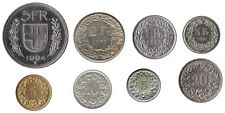 SWISS FRANC COIN COLLECTION 5 FRANCS TO 5 RAPPEN 8 COINS TOTAL