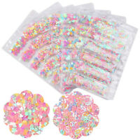 Nail Art Glitter Sequins AB Color Iridescent Star Heart Round Flakes 3D Decor