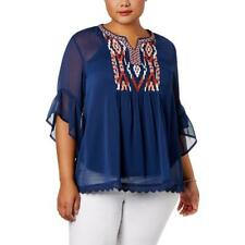 Style & Co. Womens Navy Sheer Embroidered Peasant Blouse Top Plus 1X BHFO 0251
