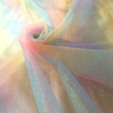 Rainbow Sparkle Glitter Tutu Tulle Gradient Net Mesh Fabric Cosplay Costume DIY