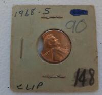 1968 S Lincoln Memorial Cent Penny Curved Clip Planchet Mint Error BU Unc