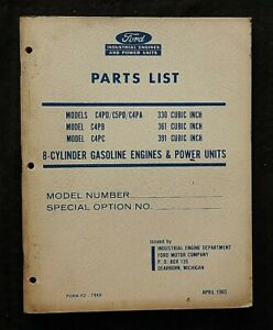 ORIGINAL 1965 FORD C4PD C5PD C4PC 330 361 391 V8 ENGINE PARTS CATALOG MANUAL