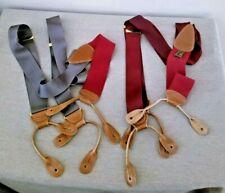 2pr Trafalgar Silk Suspenders w/Brass Hardware & Leather Trim