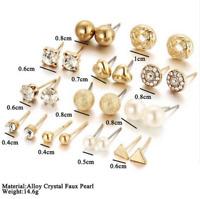 24 Pcs Fashion Rhinestone Crystal Pearl Earrings Set Women Ear Stud Jewelry New