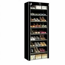 10 TIER  9 LATTICES SHOE RACK SHOES CABINET STORAGE ORGANISER DUSTPROOF USA