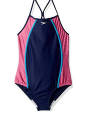 Speedo Girls' Heather Thin Strap Blue Harmony Size 14