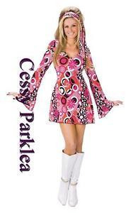 60s 70s Go Go Retro Hippie Dancing Groovy Hippy Disco Fancy Dress Up Costume
