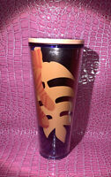 STARBUCKS Peach Purple Abstract Palm Leaf Cold Cup Straw Venti TUMBLER 24 Oz